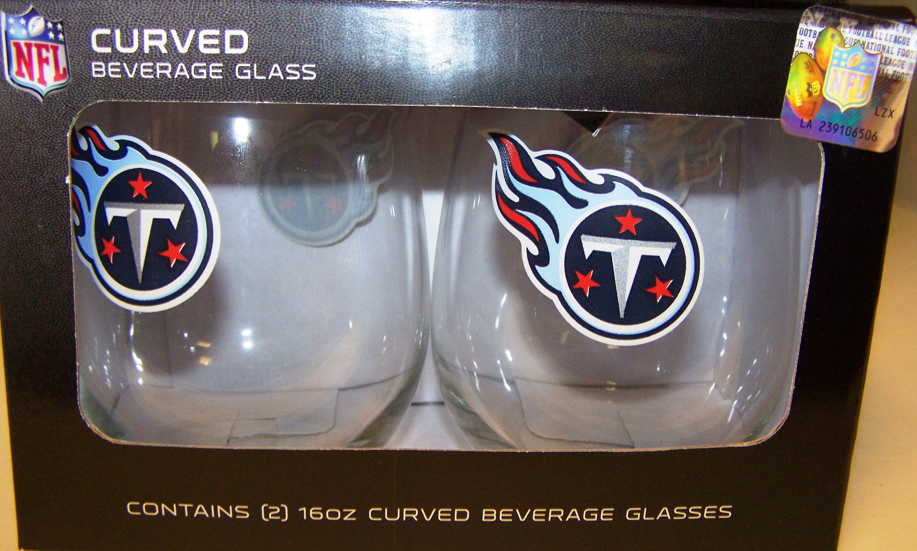 Tennessee Titans 16 oz Curved Beverage Stemless Wine Glasses