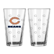 Chicago Bears Logo Satin Etched Pint Glass Set