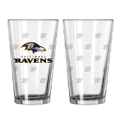 Baltimore Ravens Logo Satin Etched Pint Glass Set