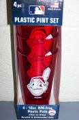 Cleveland Indians 4 Pack - 16 oz Plastic Glass Set