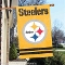 "Pittsburgh Steelers 44""x28"" Applique Banner Gold 2 Sided"