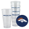 Denver Broncos 4 Pack - 16 oz Plastic Glass Set