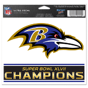 "Baltimore Ravens Super Bowl 47 Champions 5""x6"" Color Ultra Decal"