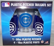 Chicago Cubs MLB Plastic 60 oz Pitcher & 4 16 oz Glasses