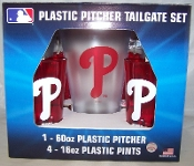 Philadelphia Phillies Plastic 60 oz Pitcher & 4 16 oz Glasses
