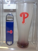 Philadelphia Phillies Frosted Pilsner Glass & Opener Gift Set