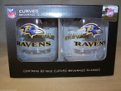 Baltimore Ravens 16 oz Curved Beverage Stemless Wine Glasses